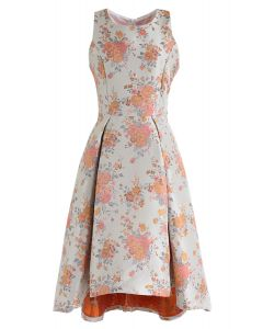 Sweet Orange Bouquets Jacquard Hi-Lo Dress