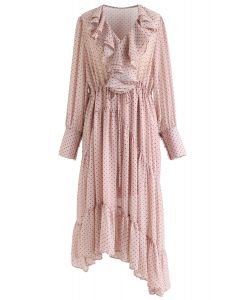 Dots Ruffle Trim Asymmetric Dress in Pink
