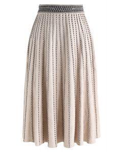 Jupe midi en tricot à lignes pointillées en tan clair