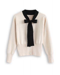 Pull boutonné en maille bowknot crème