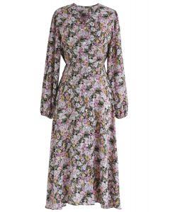 Robe col V boutonnée à imprimé marguerites en lilas