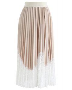 Jupe mi-longue plissée en dentelle Lightsome crème