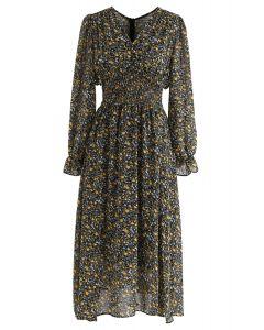 Floret - Robe mi-longue en mousseline froncée en noir