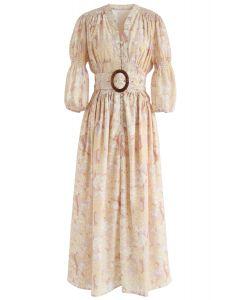 Robe froncée boutonnée à col en V imprimée Golden Trees