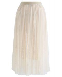 Jupe plissée en tulle en maille à perles
