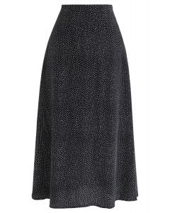Jupe en mousseline de soie à pois A-Line en noir