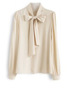 Scarf Neck Smock Top in Cream