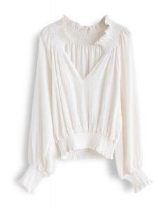 Deep V-Neck Shirred Top in Ivory