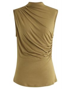 Ruched Sleeveless Top in Moss Green