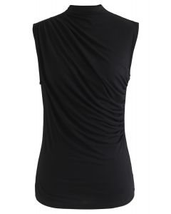 Ruched Sleeveless Top in Black