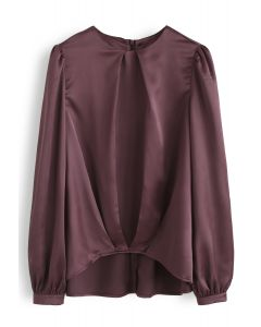 Hi-Lo Hem Satin Smock Top in Berry