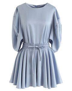 Puff Sleeves Satin Smock Top and Skorts Set in Blue
