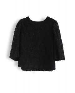 3D Floral Open Back Mid-Sleeve Top in Black