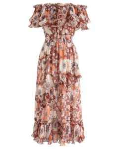 Blooming Floral Off-Shoulder Dress in Coral