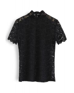 Full Lace Mock Neck Top in Black