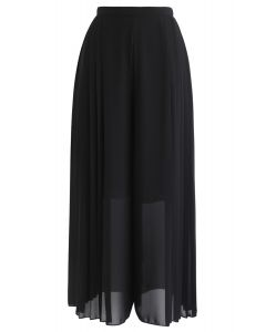 Pleated Wide-Leg Chiffon Pants in Black