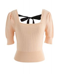 Square Neck Knot Tie Crop Knit Top in Apricot
