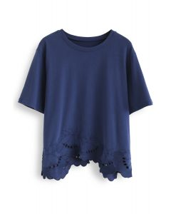 Embroidered Plant Eyelet Loose Tee in Navy