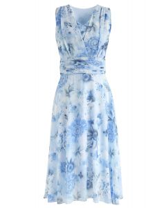 Blue Sunflower Pleated Sleeveless Chiffon Dress