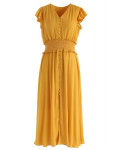 Shirred Button Down Ruffle Dress in Mustard
