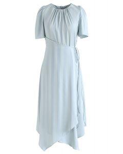 Subtle Stripe Asymmetric Dress in Mint