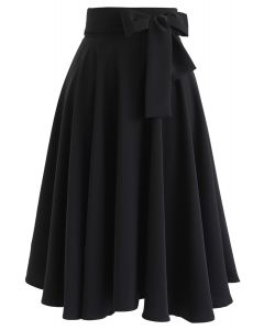 Flare Hem Bowknot Waist Midi Skirt in Black