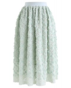 3D Roses Full Lace Midi Skirt in Mint