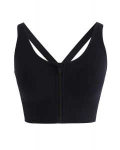 Zipper Front Crisscross Sports Bra in Black