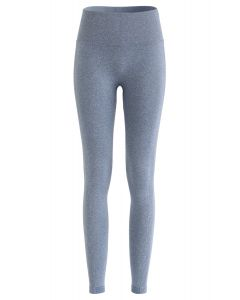 Butt Lift High-Rise Fitted Yoga Leggings in Dusty Blue