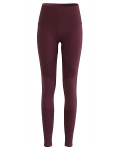 High-Rise Fitness Yoga Leggings in Burgundy