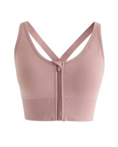 Zipper Front Crisscross Sports Bra in Pink