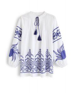 Indigo Boho Embroidery V-Neck Tunic