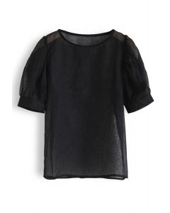 Semi-Sheer Bubble Sleeves Top in Black