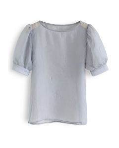 Semi-Sheer Bubble Sleeves Top in Grey