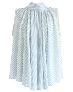 Blue Stripes Bow-Neck Sleeveless Top