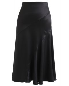 Frill Hem Midi Skirt in Black