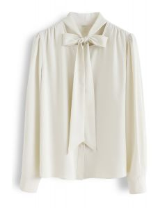 Bowknot Tie Neck Button Down Shirt in Cream