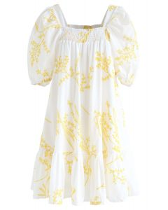Wildflowers Embroidered Puff Sleeves Dolly Dress in White