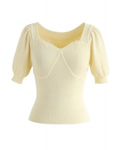 Sweetheart Neck Fitted Ribbed Knit Top in Yellow