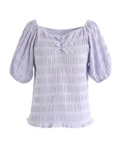 Square Neck Shirred Top in Lavender
