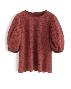 Full Flowers Embroidered Eyelet Puff Sleeves Top in Rust