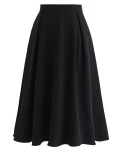Side Zip Pleated A-Line Midi Skirt in Black