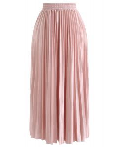 Full Pleated Midi Skirt in Peach