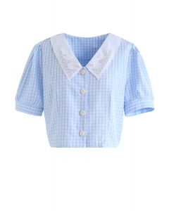 Gingham V-Neck Embroidered Cropped Top in Blue