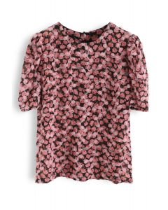 Retro 3D Roses Floral Chiffon Top in Black