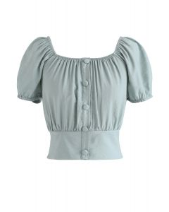Square Neck Buttoned Front Cropped Top in Mint