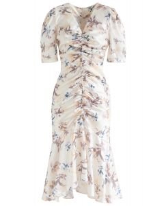 Flounced Hem Drawstring Floral Dress in Cream