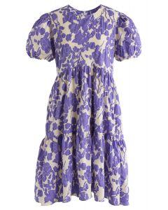 Simple Floral Print Midi Dress in Purple