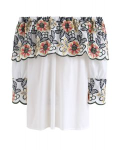 Exuberant Floral Embroidery Off-Shoulder Top