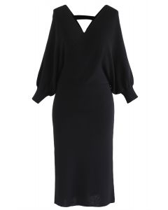 Batwing Sleeves Wrapped Knit Midi Dress in Black